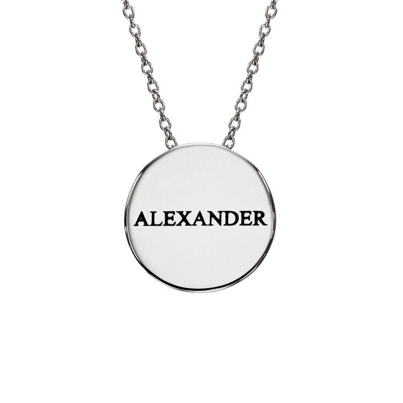 Personlig halskæde med cirkel og zirconia sten i sølv