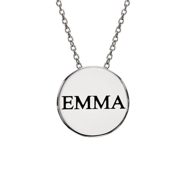 Personlig halskæde med cirkel og zirconia sten i sølv - 1