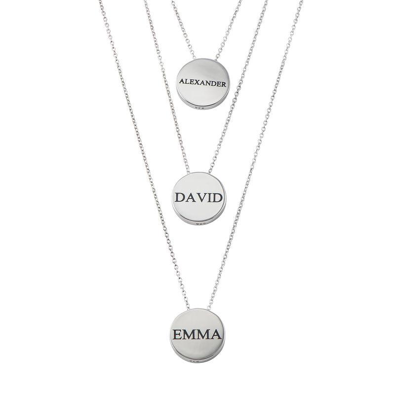 Personlig halskæde med cirkel og zirconia sten i sølv - 2