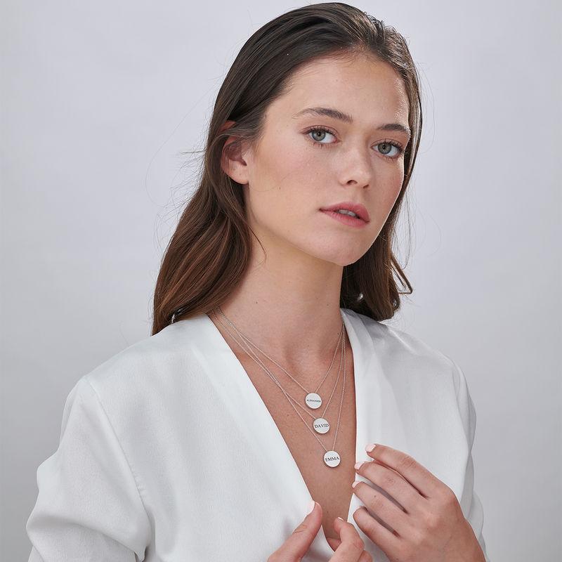 Personlig halskæde med cirkel og zirconia sten i sølv - 6