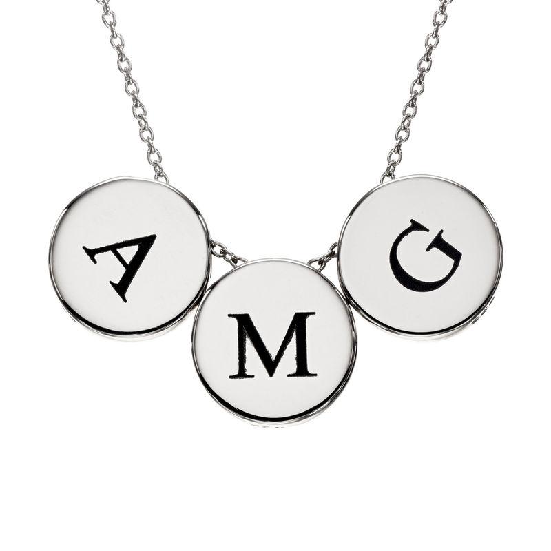 Cirkel halskæde med bogstav i sølv - 1