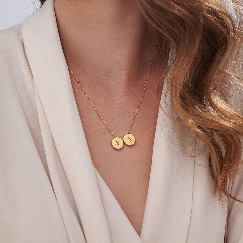 Cirkel halskæde med bogstav - forgyldt - 5