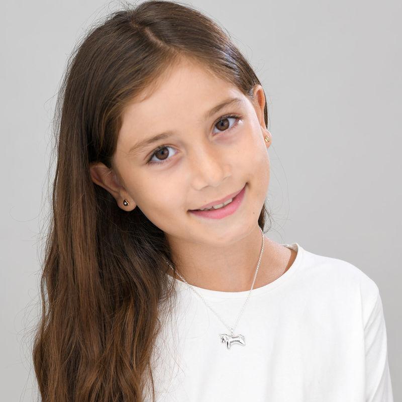 Enhjørning halskæde med CZ til piger i sølv - 1