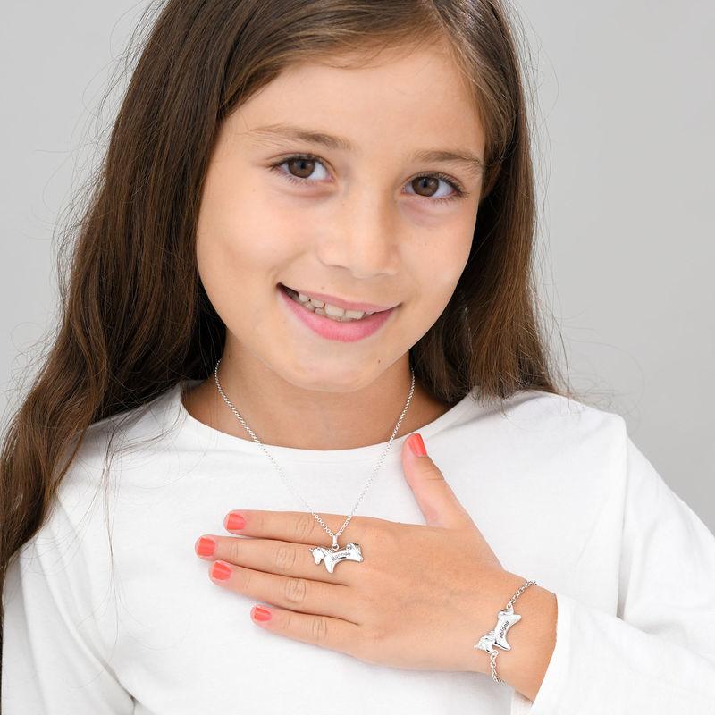 Enhjørning halskæde med CZ til piger i sølv - 3