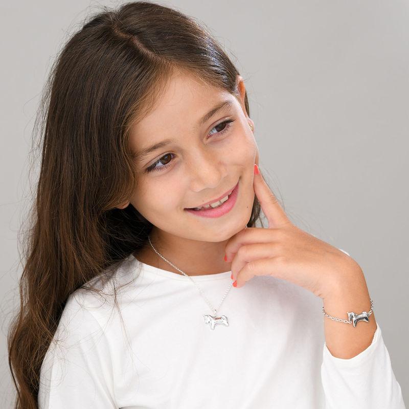 Enhjørning halskæde med CZ til piger i sølv - 4