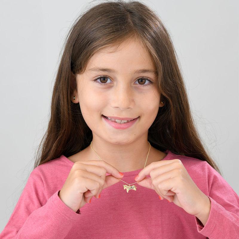 Enhjørning halskædemed CZ til piger i 10k guld - 3