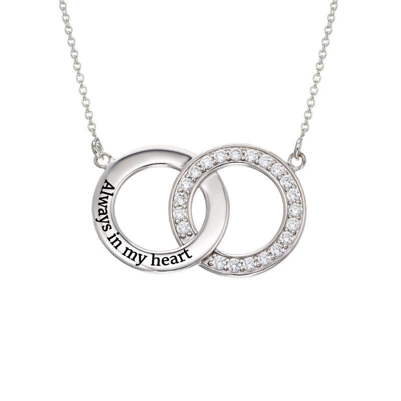 Indgraveret cirkel halskæde med kubisk zirkonia i sølv