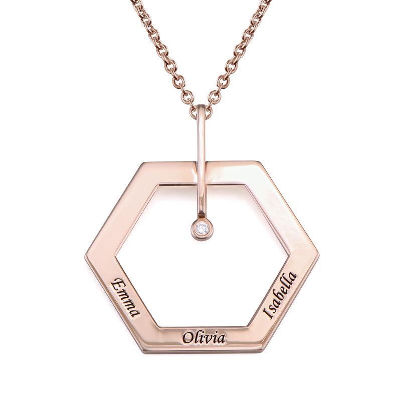 Personlig halskæde med heksagon og gravering - rosaforgyldt
