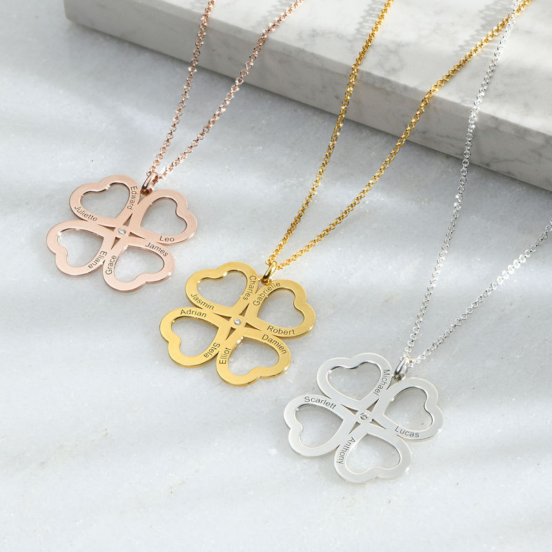 Firkløver halskæde til mor med diamant i rosaforgyldt i sølv - 1