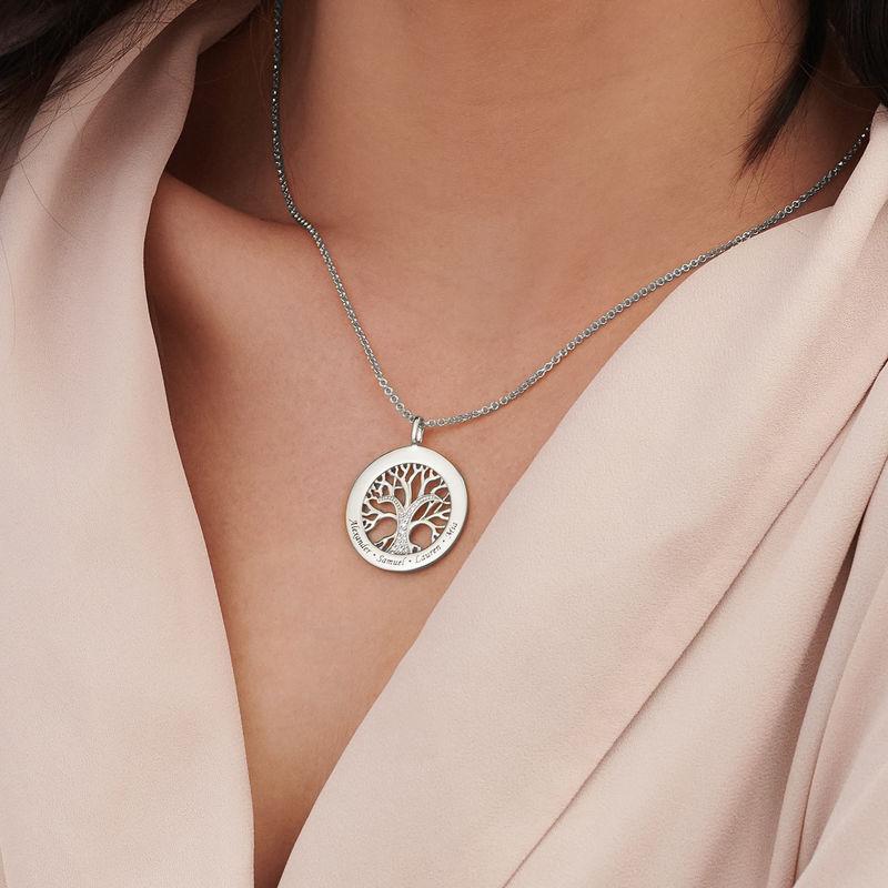 Livets træ halskæde med cirkel i sølv - 3