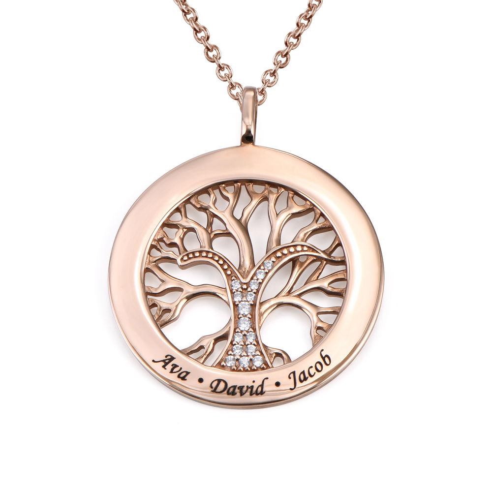 Livets træ halskæde med cirkel i rosaforgyldt sølv