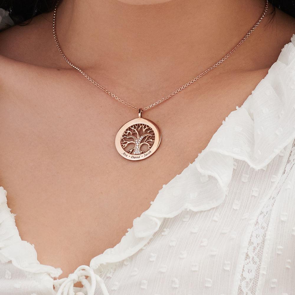 Livets træ halskæde med cirkel i rosaforgyldt sølv - 3