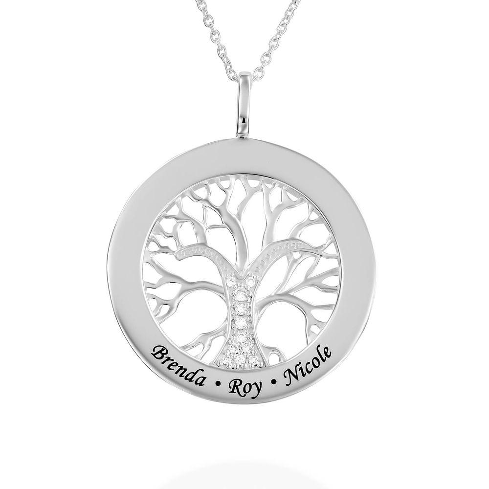Livets træ halskæde med cirkel i sølv med diamant