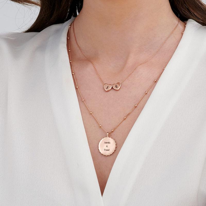 Hjertehalskæde med bokstaver i rosaforgyldt sølv - 4