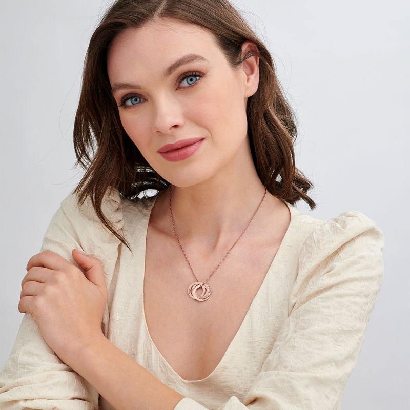 4 russisk ring-halskæde i rosaforgyldt sølv - 1