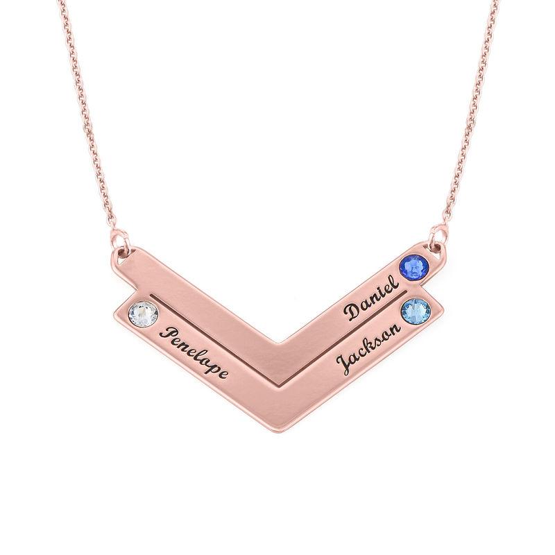 Familie halskæde med gravering i rosaforgyldt sølv