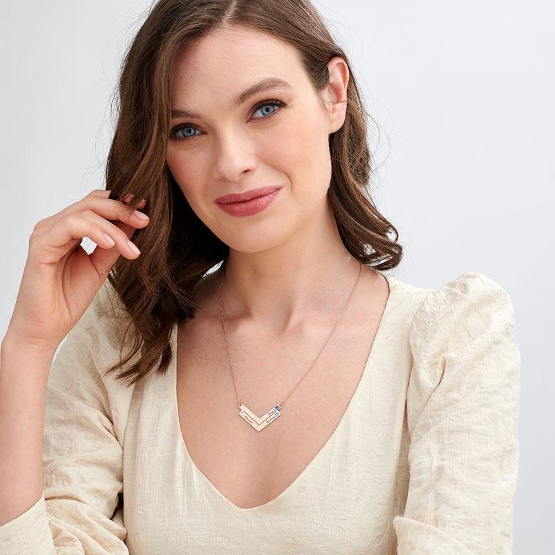 Familie halskæde med gravering i rosaforgyldt sølv - 1