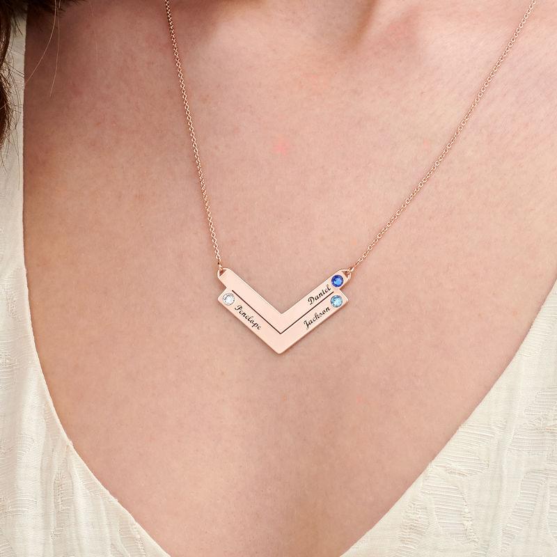 Familie halskæde med gravering i rosaforgyldt sølv - 2