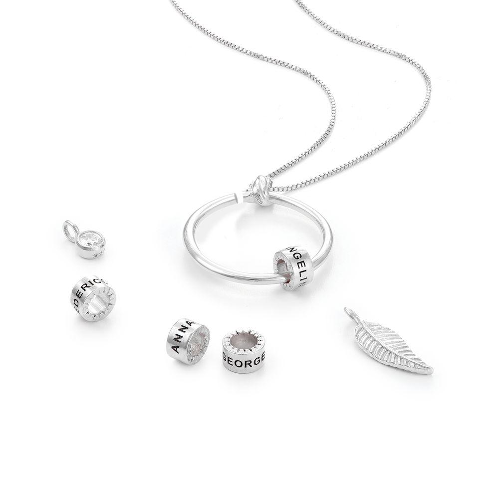 Linda Familie halskæde med indgraverede vedhæng og blad i sølv - 3