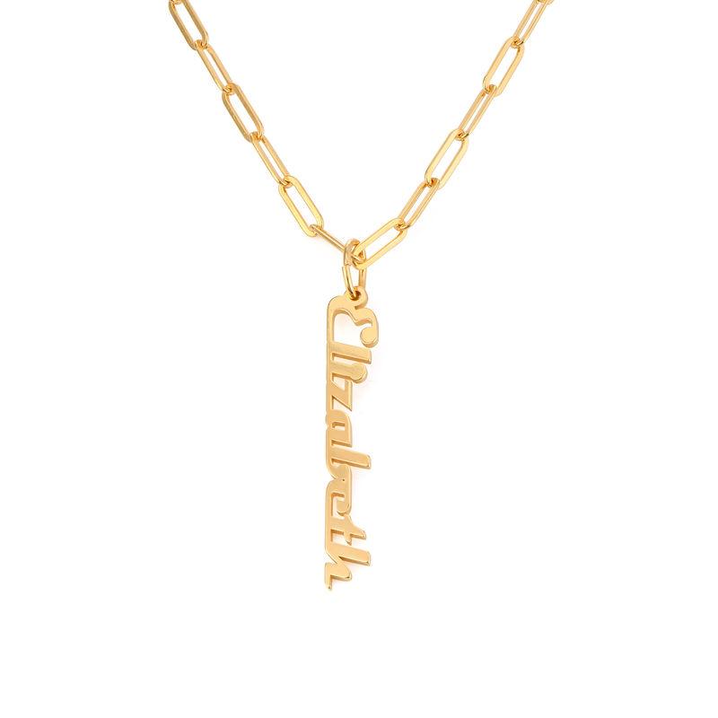 Link halskæde med navn18kt. forgyldt - 1