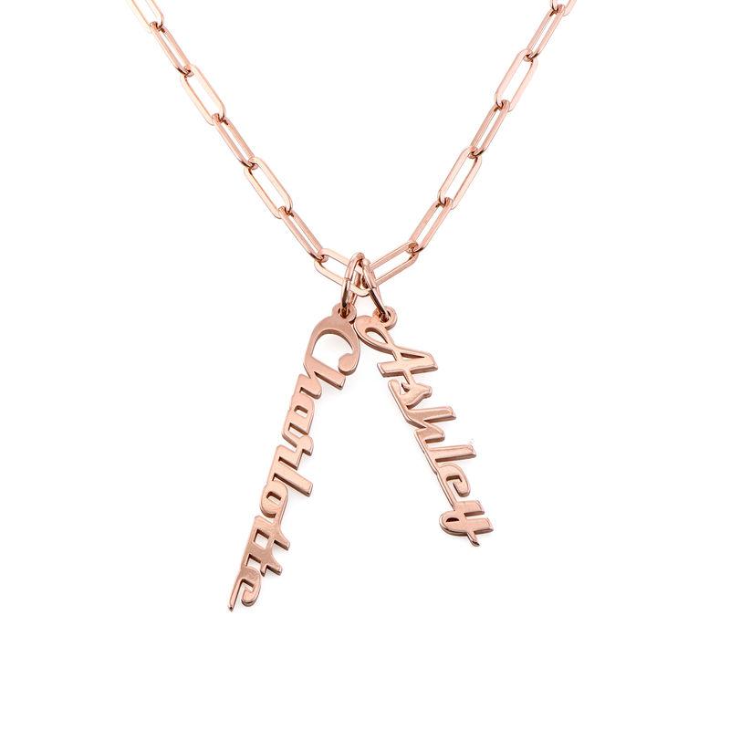 Link halskæde med navn 18kt. rosaforgyldt