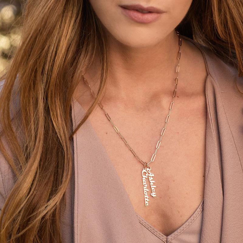 Link halskæde med navn 18kt. rosaforgyldt - 2