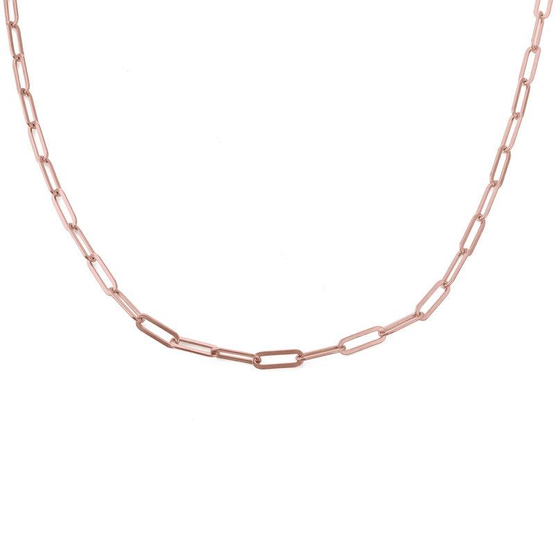 Link halskæde i18kt. rosaforgyldt sølv