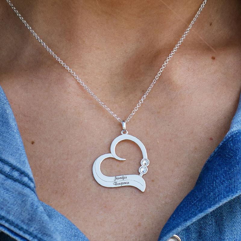 Personlig hjertehalskæde i Sterlingsølv med fødselssten - 2