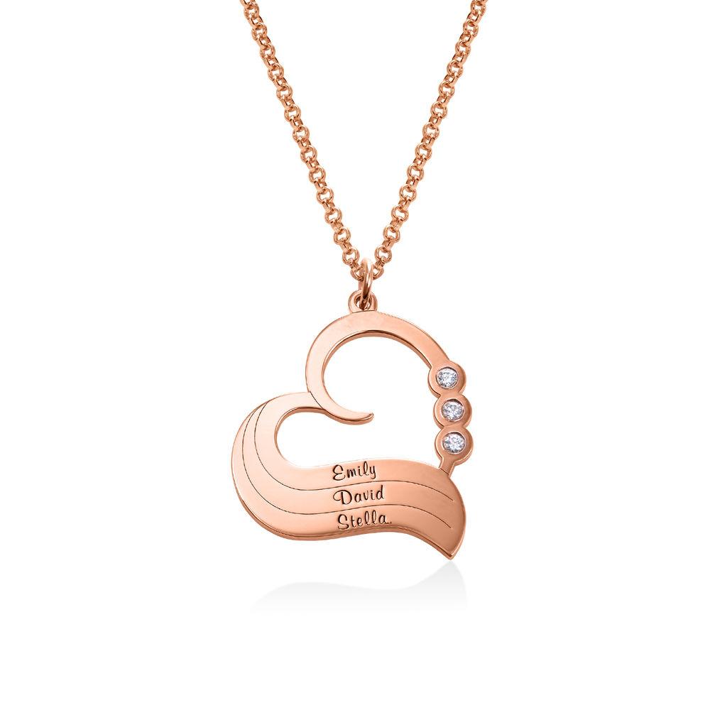 Personlig 18 kt. rosaforgyldt hjertehalskæde med diamant