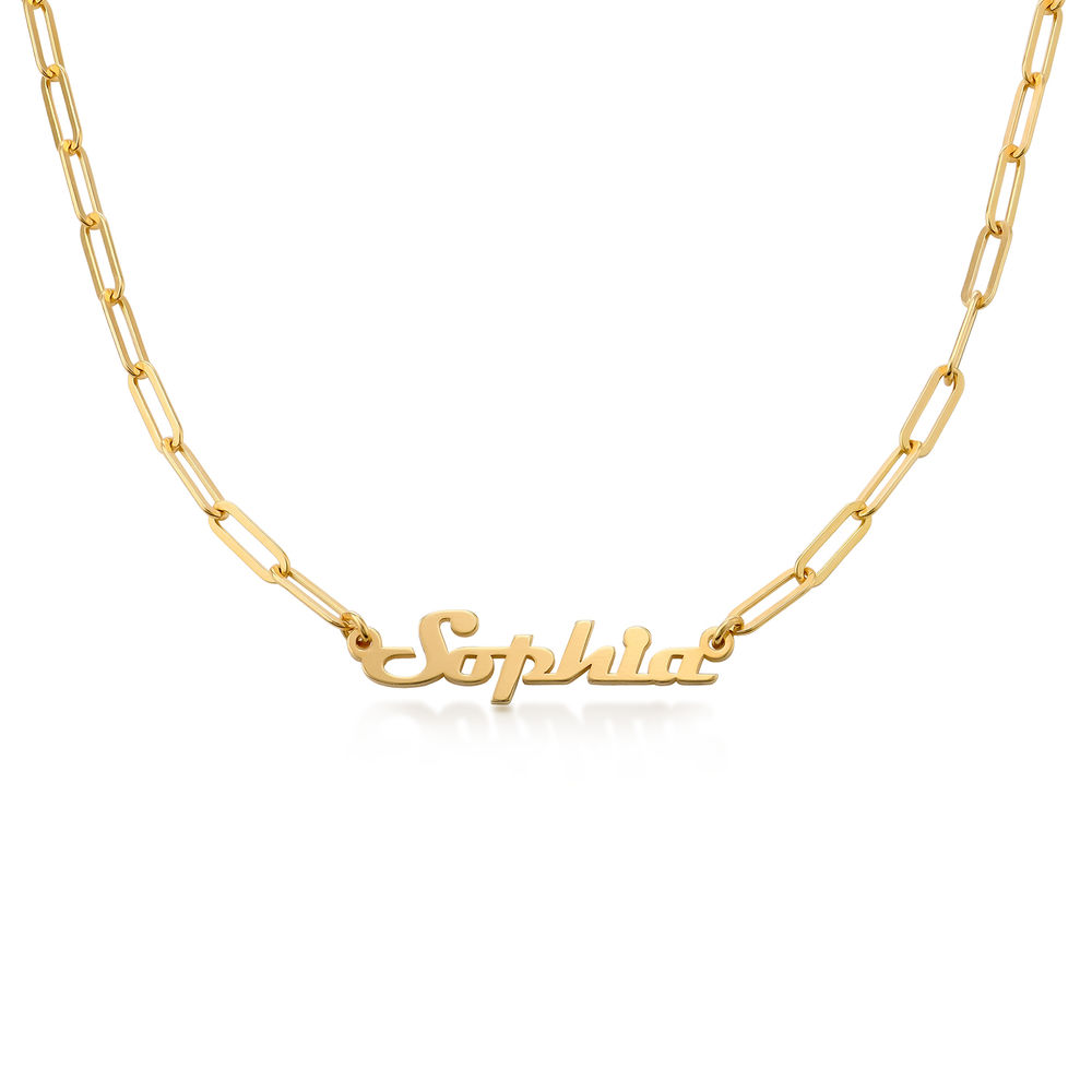 Magneto Link-Navnehalskæde i 18k guld vermeil
