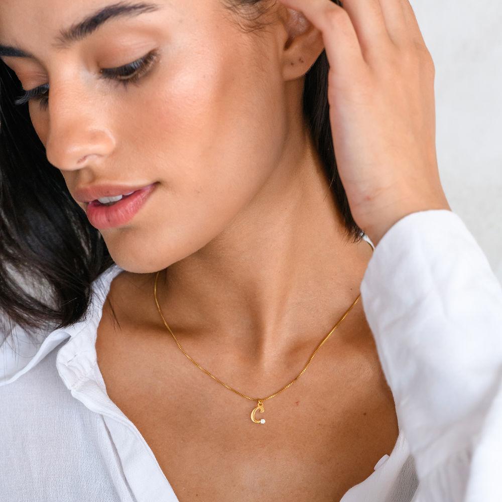 Halskæde med diamant og bogstav i 18kt. guld vermeil - 2