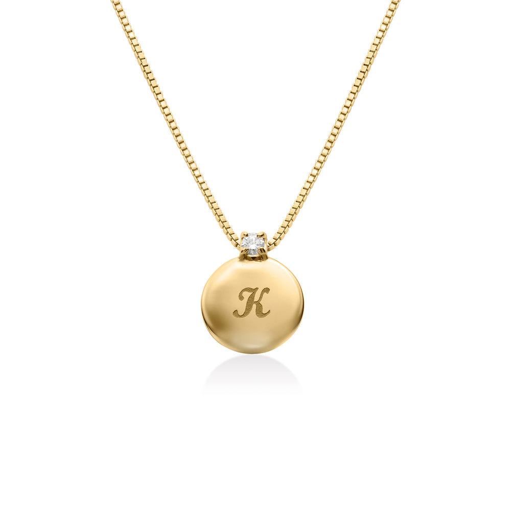 Lille cirkel halskæde med diamant & bogstav i guld vermeil