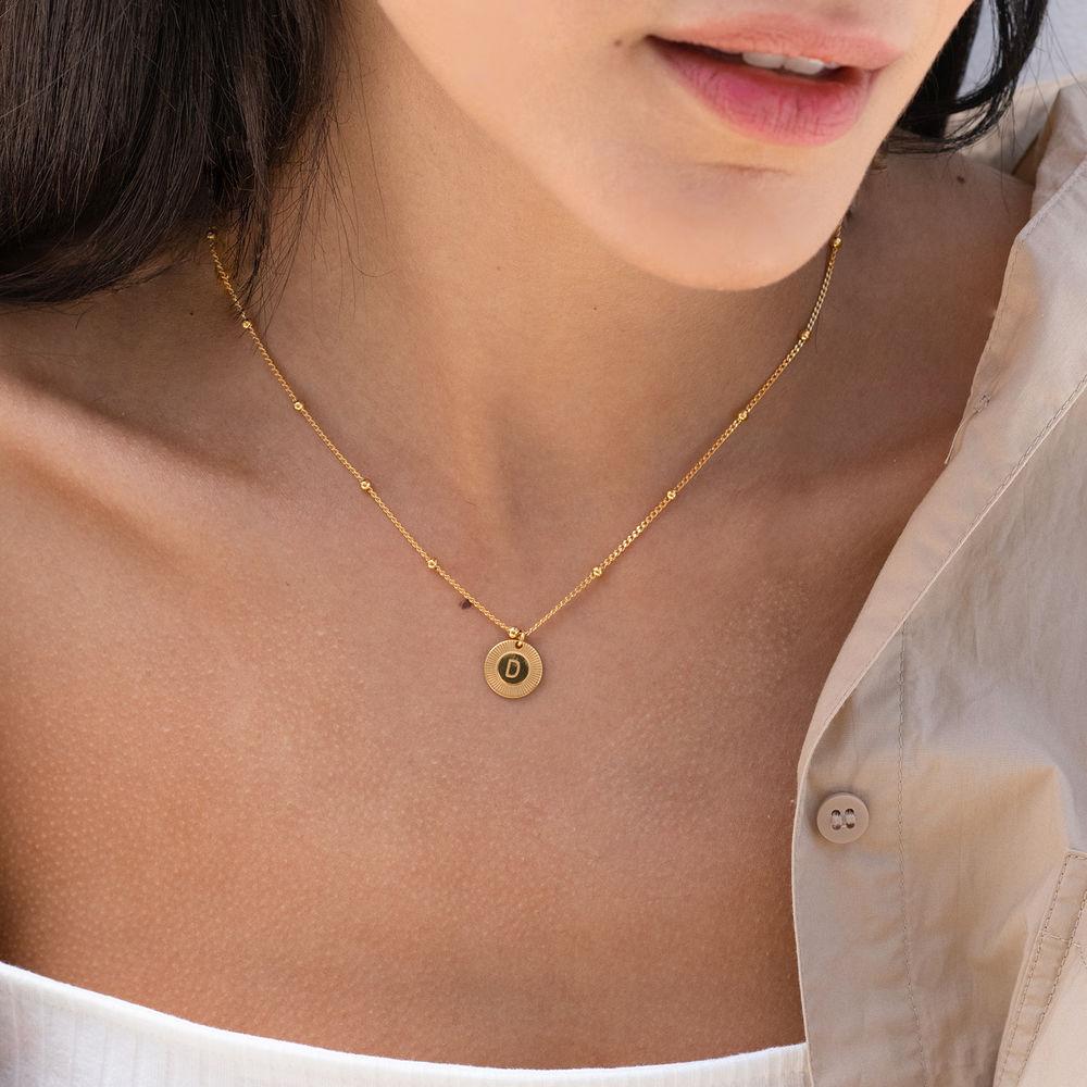 Mini Rayos halskæde med bogstav i guld vermeil - 1