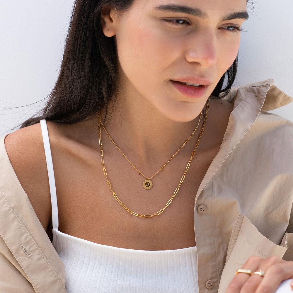 Mini Rayos halskæde med bogstav i guld vermeil - 2
