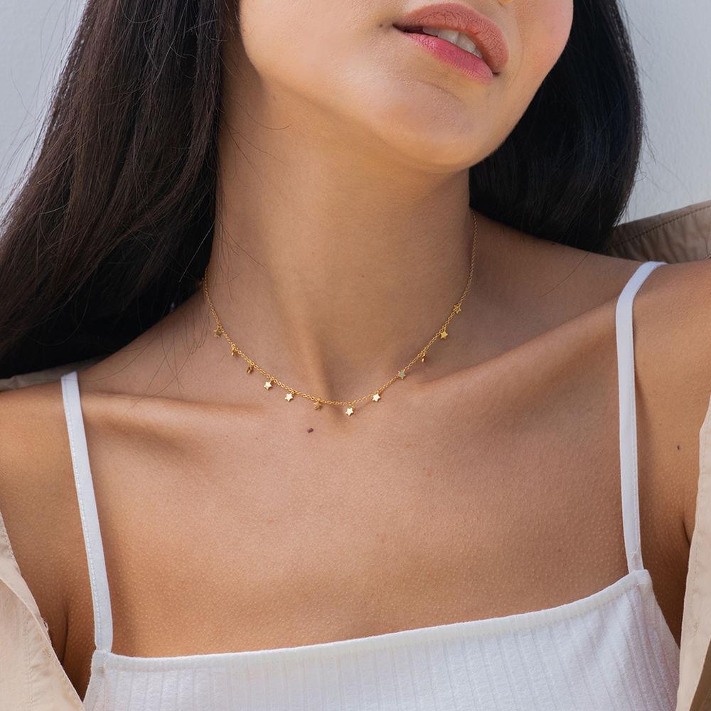 Stjerne halskæde - rosaforgyldt - 2