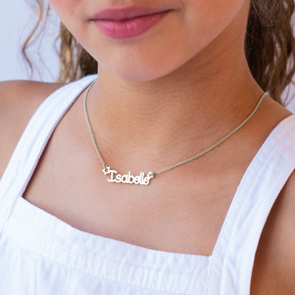 Halskæde med navn til piger i sterlingsølv  - 1