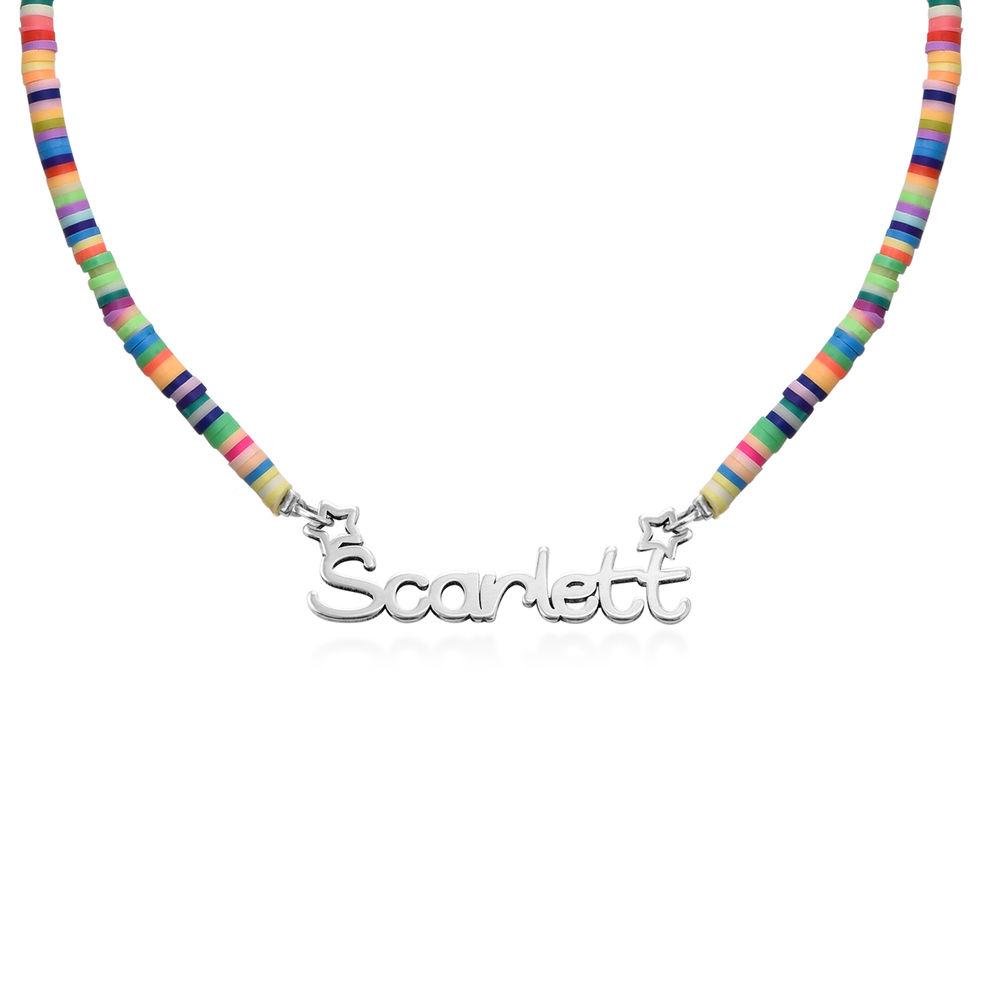 Regnbue halskædetil piger med navni sølv