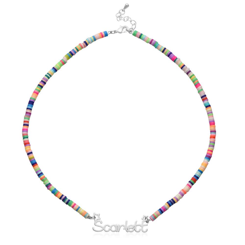 Regnbue halskædetil piger med navni sølv - 1
