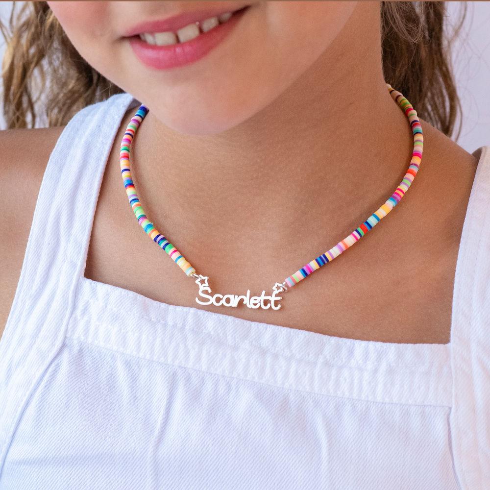 Regnbue halskædetil piger med navni sølv - 2