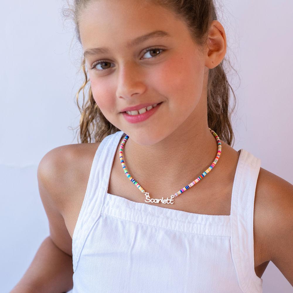 Regnbue halskædetil piger med navni sølv - 3