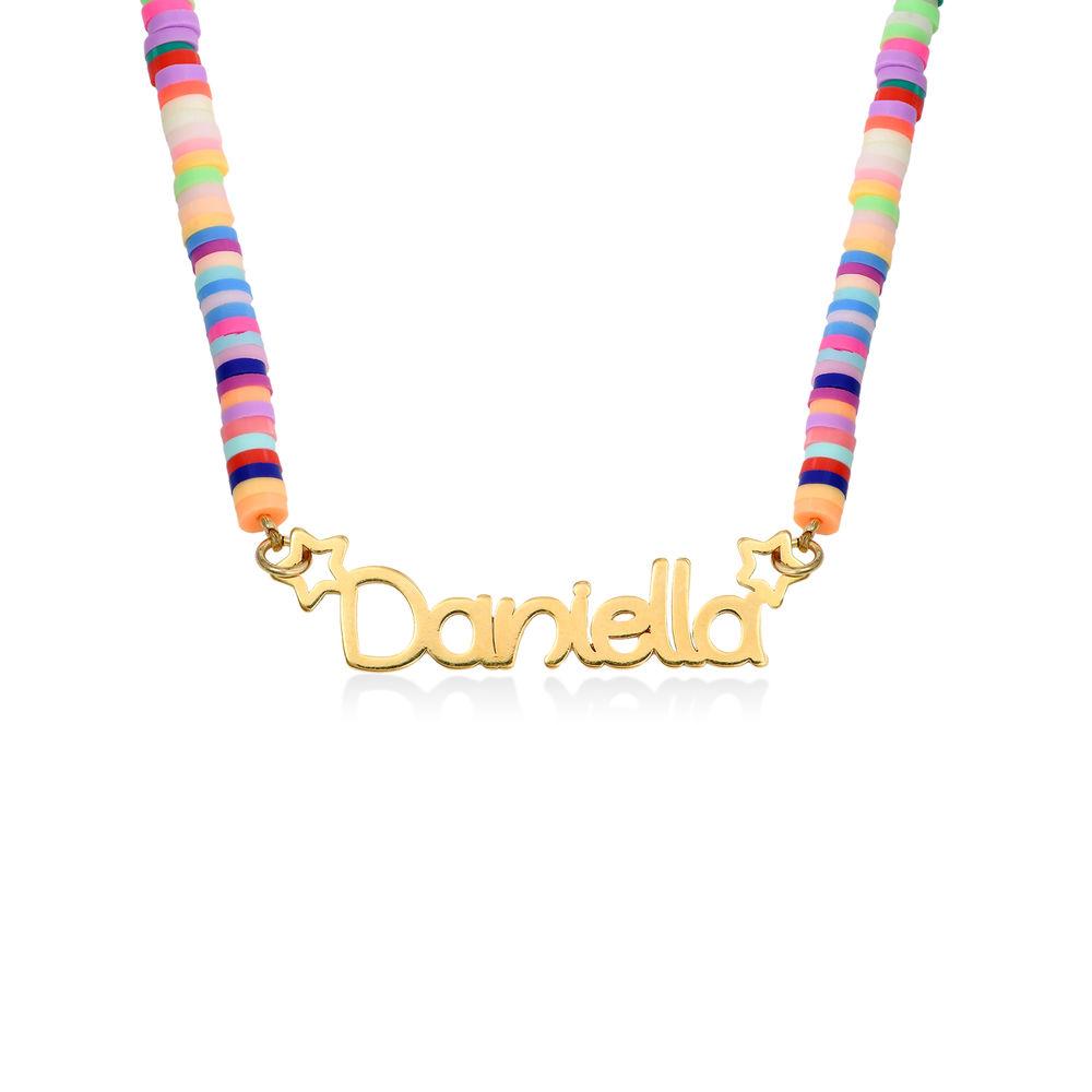 Regnbue halskæde til piger med navn - forgyldt