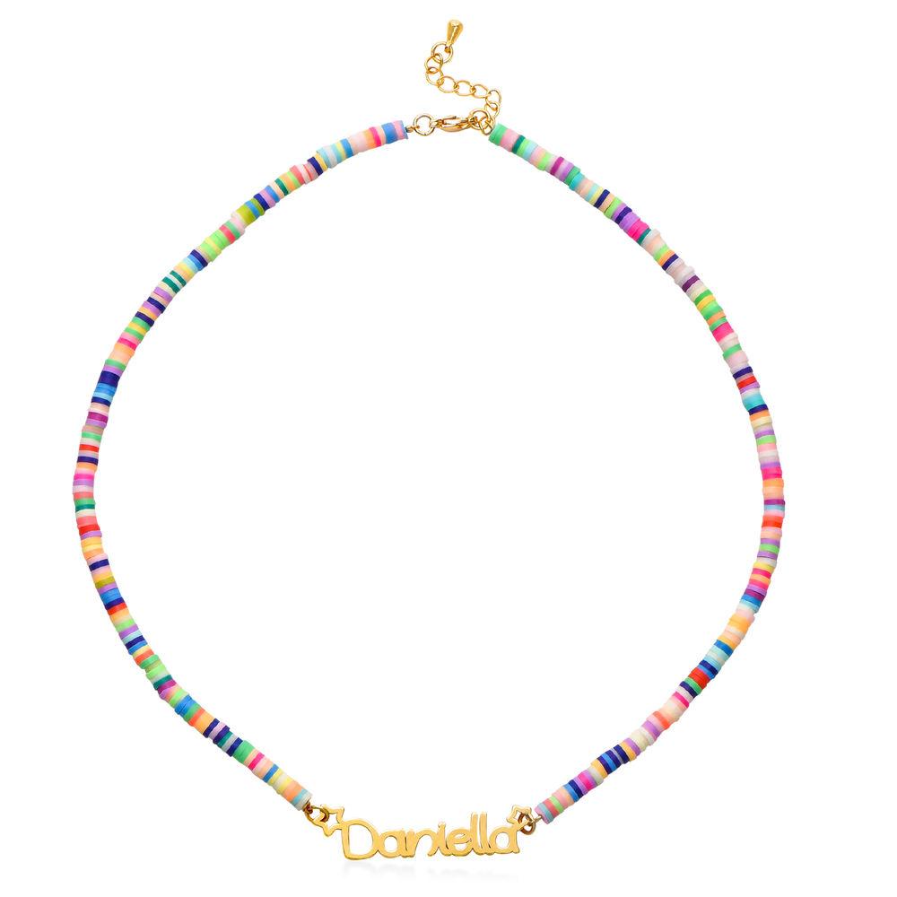 Regnbue halskæde til piger med navn - forgyldt - 1
