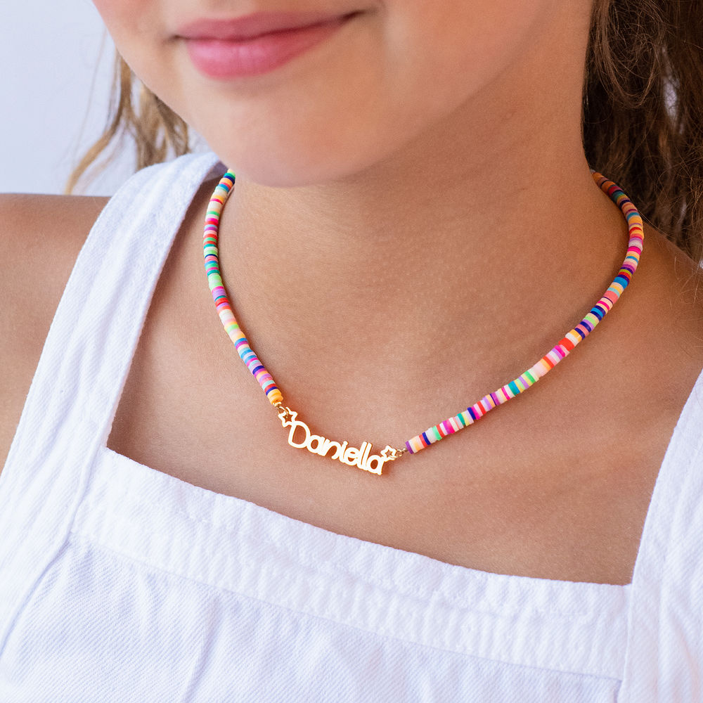 Regnbue halskæde til piger med navn - forgyldt - 2