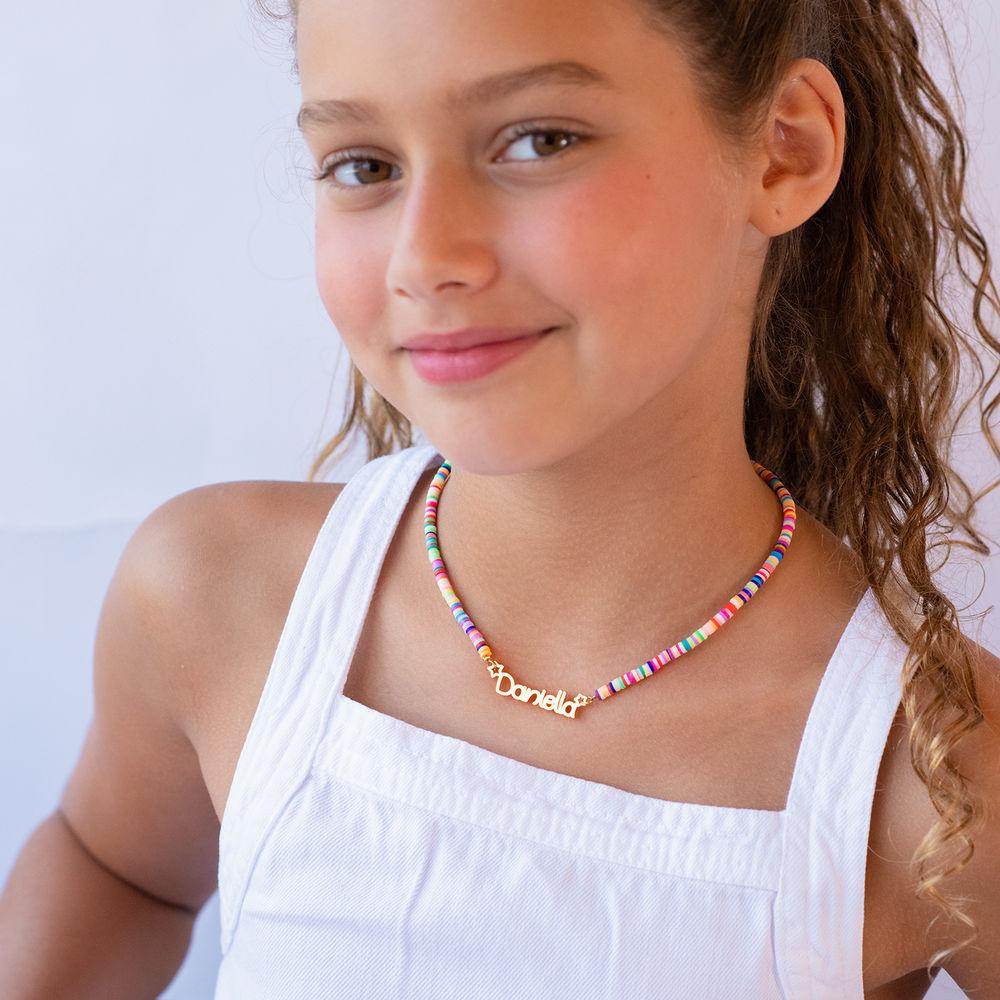 Regnbue halskæde til piger med navn - forgyldt - 3