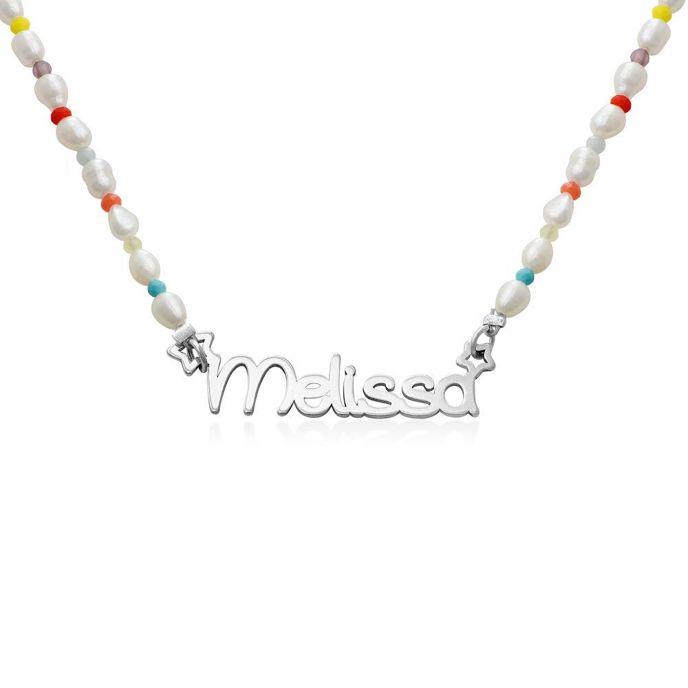 Perlehalskæde til piger med navn i sterlingsølv