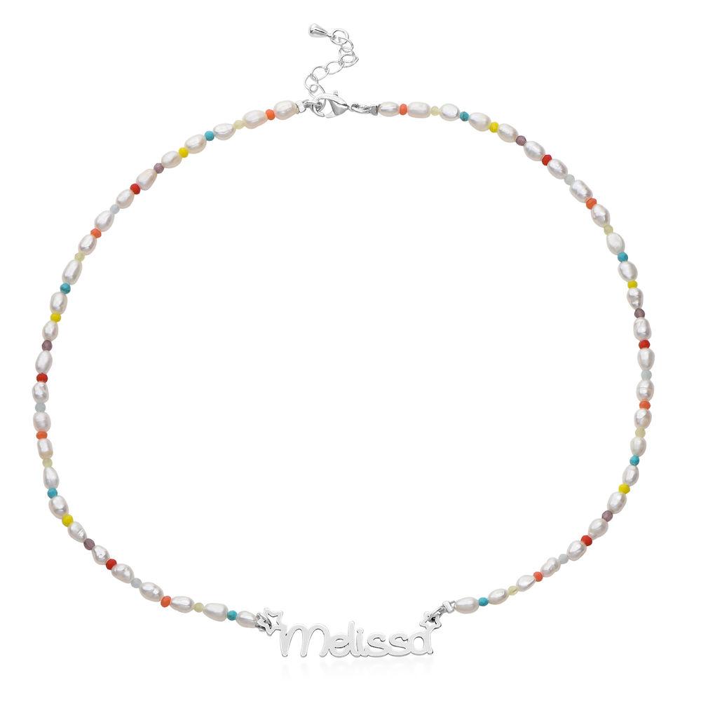 Perlehalskæde til piger med navn i sterlingsølv - 1