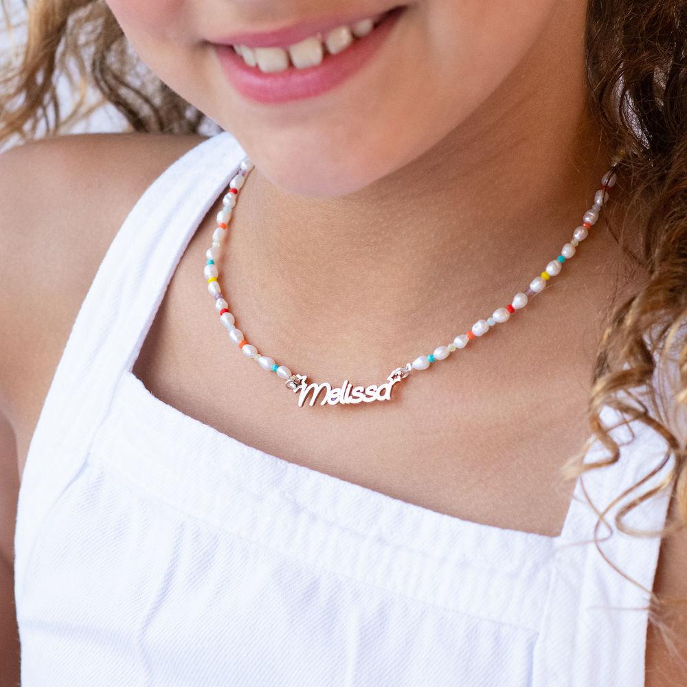 Perlehalskæde til piger med navn i sterlingsølv - 2
