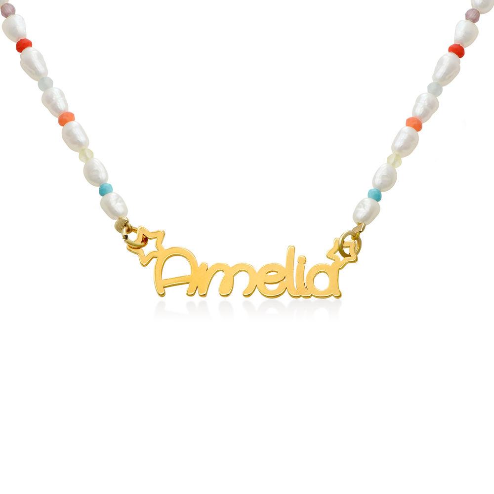 Perlehalskæde til piger med navn - forgyldt