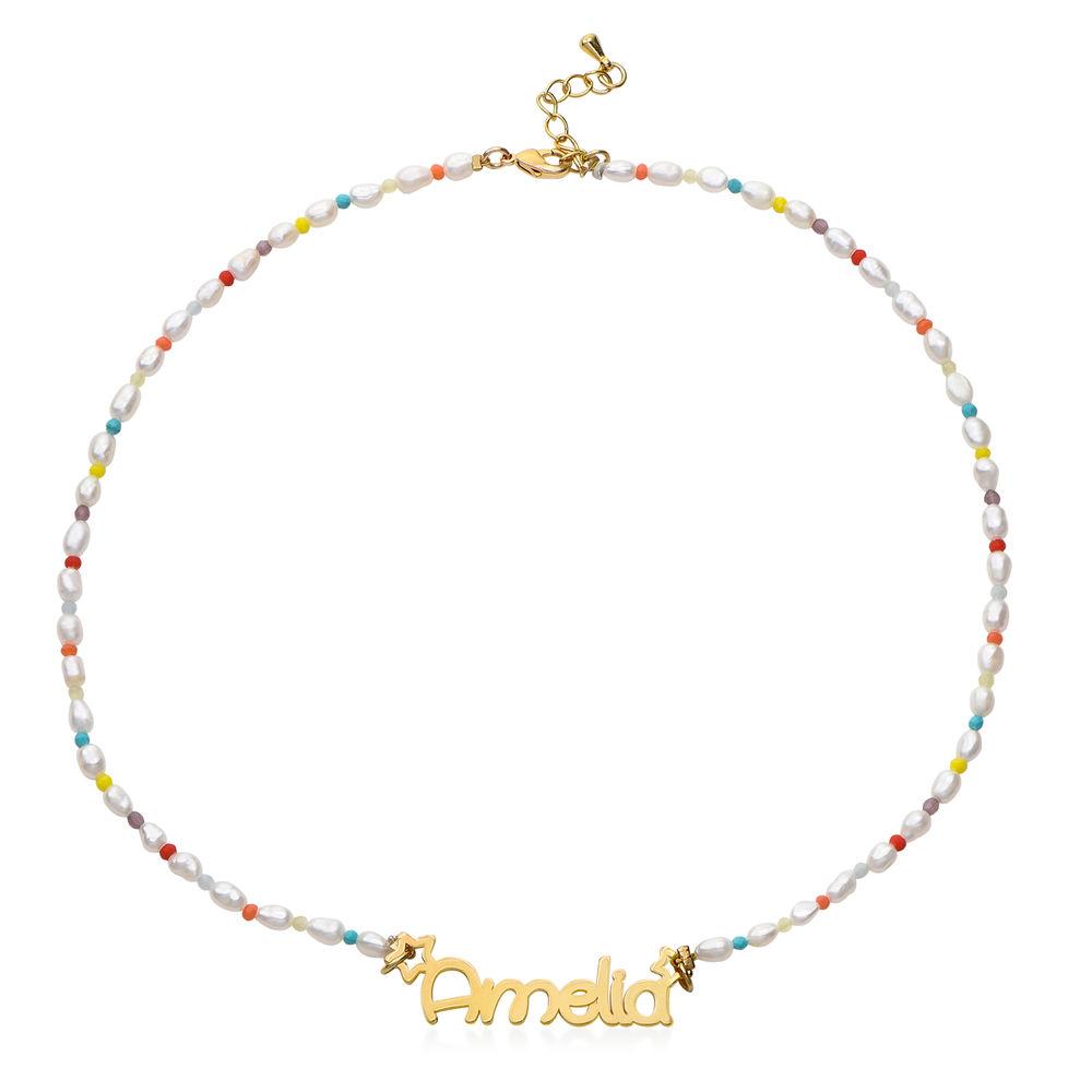 Perlehalskæde til piger med navn - forgyldt - 1