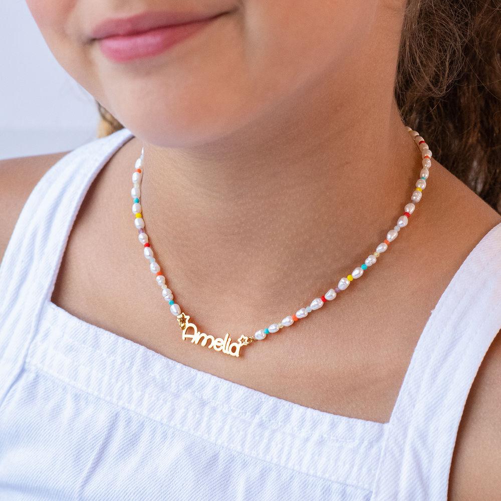Perlehalskæde til piger med navn - forgyldt - 2